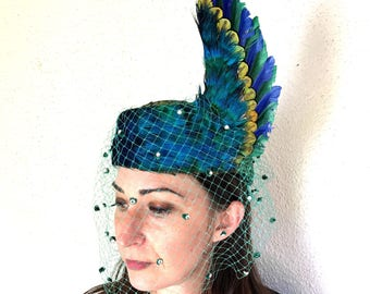 Jack McConnell 1950s 1960s Peacock pillbox hat french veil feather fascinator