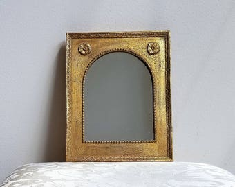 Vintage Gold Wall Mirror Rectangle With Arch Embossed Designs & Flower Medallions, 8 x 10 Gallery Wall Accent, Bohemian Decor