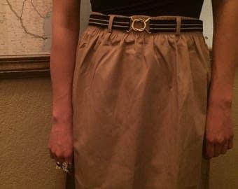 Khaki Day Skirt | M/L striped stretch belt elastic waist belt loops vintage 80s preppy tea length kitsch SKIRT medium large L womens bottom