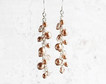 Cocoa Brown Pearl Cascade Cluster Earrings on Silver Plated Hooks