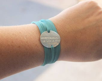 Nevertheless, She Persisted bracelet, leather wrap bracelet, Mantra Pendant, Inspirational Bracelet, Boho Nevertheless Jewelry