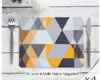 Scandi Geometric Placemat Set - Scandi triangle Print - Grey and Mustard Placemats - Scandi Print Placemats - Scandinavian Modern - UK size