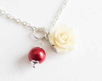 Girls red pearl necklace, flower girl necklace, toddler ivory rose necklace, floral wedding jewelry, junior bridesmaid flower necklace