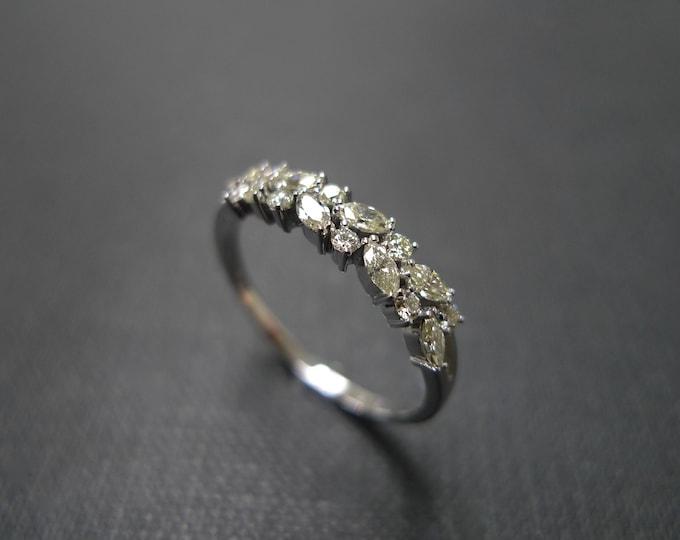 Marquise Ring Diamond Band, Wedding Band, Yellow Diamond Wedding Ring, Marquise Diamond Ring, Thin Ring, Yellow Diamond Band, Marquise Band