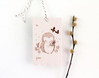 10 Copper Foil Tags - Hedgehog & Cherry Blossom