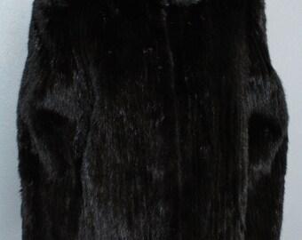 Vintage Black Mink Animal Fur Stripe Leather Suede Coat Jacket 10