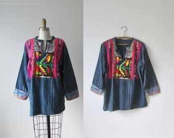 D'yer Mak'er / 70s indigo top / 1970s embroidered tunic