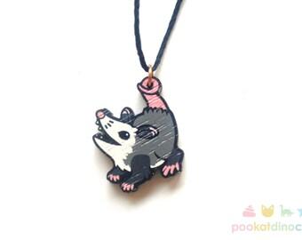 Cute Possum Wooden Charm Necklace