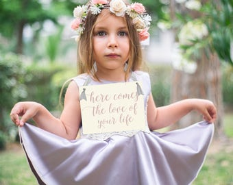 Here Comes The Love Of Your Life Sign | Flower Girl Ring Bearer Banner Handmade USA 1303 BW