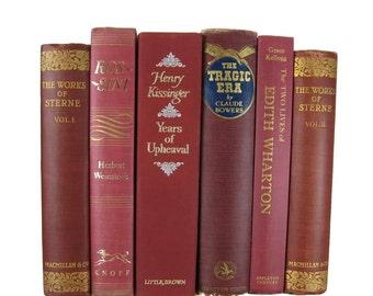 Shades of Burgundy  Red  Decorative Books , Vintage Books , Home Decor , Old Books , Vintage Photo Props , Table Setting , Wedding Decor