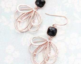 Rose Gold Dangle Earrings, Jey Black Glass Earrings, Modern Floral Filigree, Bridesmaids Gift, Nickel Free, Pink Blush Gold, Gift For Her