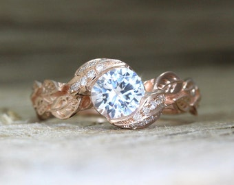 Nature Engagement Ring, White Sapphire Leaves Engagement Ring, Rose Gold Engagement Leaf Ring, White Sapphire Nature Ring, Natural Ring