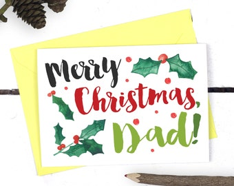 Christmas Card for Dad - Merry Christmas Dad - Dad Christmas Card - Gift for Dad