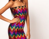 Party Rainbow Colorful Vibrant Sequin Bandage/Bodycon Style Mini Strapless Tube Dress (Great Prom Dress)