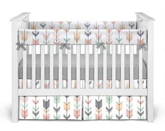 Design Your Own Baby Nursery - Fletching Arrows Gray Baby Girl Crib Bedding