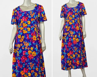 Vintage Tropical Dress • Hawaiian Dress • 70s Maxi Dress • Purple Floral Dress • Luau Tiki Hawaiian Maxi Dress • Long Floral Midi Dress M/L