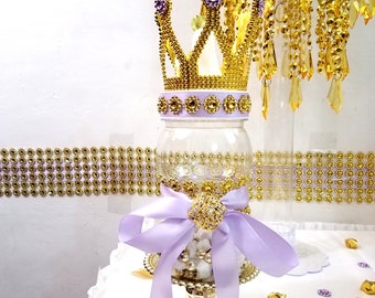 crown lavender and gold baby shower large bottle centerpiece for girls princess baby shower little