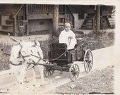 Billy Goat Cart- 1910s Antique Photograph- Edwardian Baby- Found Photo- Horned Goat- Real Photo Postcard- Identified RPPC- Paper Ephemera