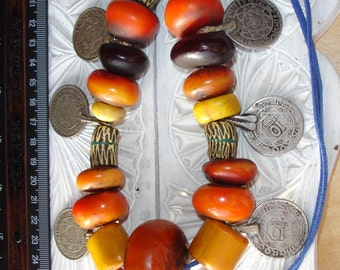 Large  Moroccan orangey tarnished amber resin and  Mauritani bead necklace with coins