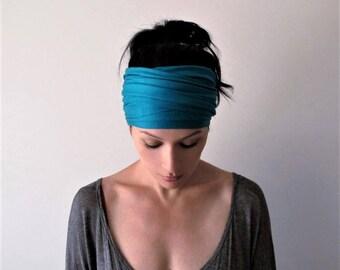 AQUA BLUE Head Scarf - Bohemian Headband - Vibrant Teal Hair Wrap - Non Slip Jersey Headband - Yoga Headband - Boho Hair Accessories