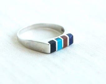 Striped Stone Ring Band Size 7 Vintage Mexican Stacking Bar Ring Southwestern Turquoise Onyx Jasper Sodalite Stones