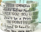 Succulent Sayings Cuff Bracelet - Cactus Jewelry - Succulent Jewelry Gifts  - The Charmed Wife  - Personalized Cuffs  - Mothers Day