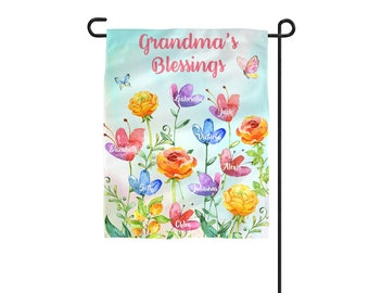 Personalized Grandma's Garden Flag, Grandmother Yard Sign, Grandkids Flag, Mom Nana Banner, Personalized Name Garden Flag, Mother's Day Gift