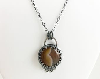 Agate and Silver Necklace - Brazilian Agate and Sterling Silver Necklace - Neutral Tone Necklace  - Caramel Brown Necklace - READY TO SHIP