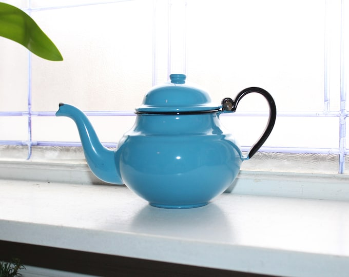 Vintage Blue Enamelware Teapot Blue Graniteware Tea Pot