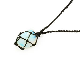 Opalite Necklace, Festival Jewelry, Chakra Necklace, Healing Crystal Necklace, Stone Necklace, Bohemian Necklace