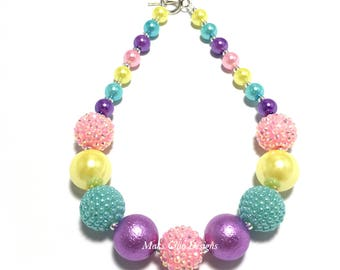 Toddler or Girls Spring Rainbow Chunky Necklace - Purple, Yellow, Pink, Turquoise Chunky Necklace - Easter Necklace - Unicorn Necklace
