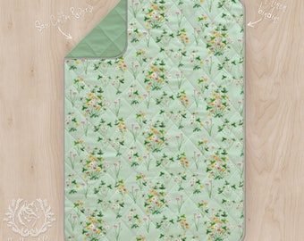 Wholecloth Cot Quilt Meadow Floral Watercolour Wildflowers. Rectangle Play Mat Linen Cotton Printed in Australia. Made to Order in 2-3 days