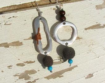 Asymmetrical Earrings, Geometric Earring Hoop, Long Boho Minimalist Ear Wear, Mismatched Drop Earrings, Lava Rock and Turquoise, Cool gift