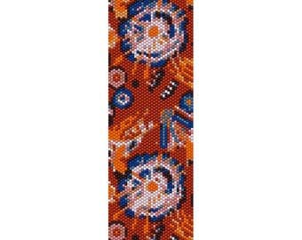 Abstract Flowers 1 Peyote Bead Pattern, Bracelet Cuff Pattern, Bookmark, Seed Beading Pattern Delica Size 11 Beads - PDF Instant Download