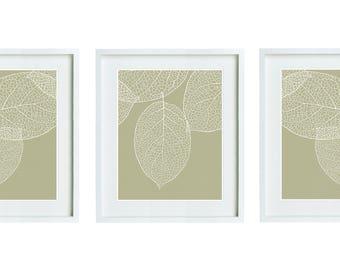 Set of 3 Khaki Tan Leaves Botanical Prints