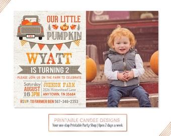 Pumpkin Birthday Invitation, Burlap Pumpkin Party, Rustic Pumpkin Invite, Our Little Pumpkin, Fall Birthday, Boy Pumpkin Invitation