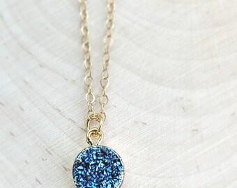 Gold Druzy Necklace, Gold Druzy Pendant Necklace, Blue Druzy Pendant