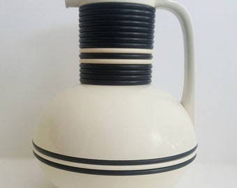 Vintage Corning Thermique / White and Black Rings / Coffee or Tea Thermos / Mid-Century Retro