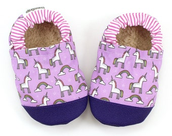 unicorn shoes, unicorn booties, pink and purple, baby girl shoes, vegan baby, unicorn slippers rubber sole shoes toddler shoes unicorns