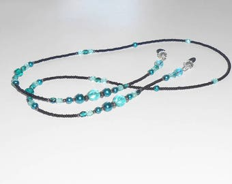 Aquamarine and Black Beaded Eyeglass Chain, Eyeglass Chain, Beaded Lanyard, Beaded Eyeglass Leash, EC02204