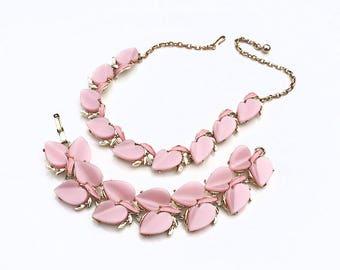 Pink Moonglow Necklace & Bracelet ~ Vintage Thermoset Heart Leaf Moon Glow Link Demi Parure Set