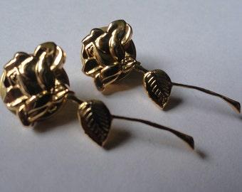 2 Vintage Gold Tone Rose Flower Brooch Pin