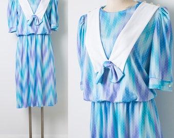 80s Dress, Vintage Blue Dress, Vintage bow tie dress, Blue purple dress, 80s blouson Dress, vintage Secretary dress - M/L