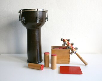 Hand Drum Bell and Bean Shakers