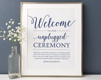 Unplugged Ceremony Sign Wedding // Editable Wedding Sign Template // Printable Unplugged Wedding Sign Download // Navy Wedding Poster