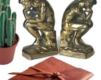 Mid Century Bookends Iconic Thinker Bookends Rodin's Sculpture Bookcase Display 1920's PAIR Hollywood Regency Meets Traditional Philosophy