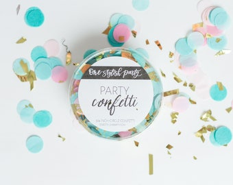 Party Confetti - Oh Baby! - Light Pink and Pastel Blue Confetti - Gender Reveal Confetti - Gender Reveal Party Decorations