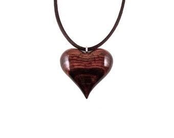 Heart Pendant, Wooden Heart Necklace, Wooden Heart Pendant, Heart Necklace, 5th Anniversary Gift for Her, Wood Jewelry, Wood Heart Jewelry