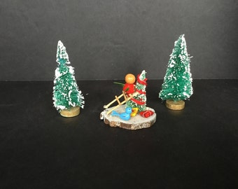 Miniature Christmas Scene Bottle Brush Trees