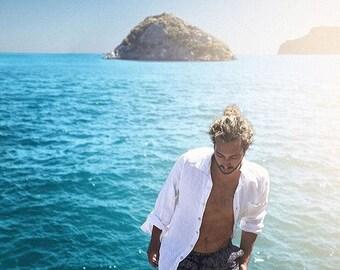 Men's Linen Long-Sleeve Button Up Shirt, Party Shirt, Navy, White or Ocean Blue Linen Short Sleeved Men's Shirt